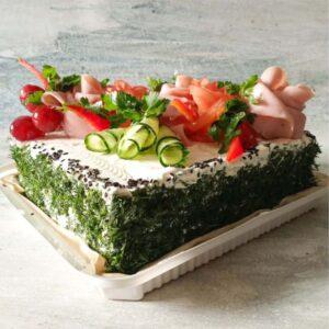 Торт «Гастрономический» ветчина, сливочный сыр, маринованные огурчики, ...   вес 2 кг.    2900 руб.